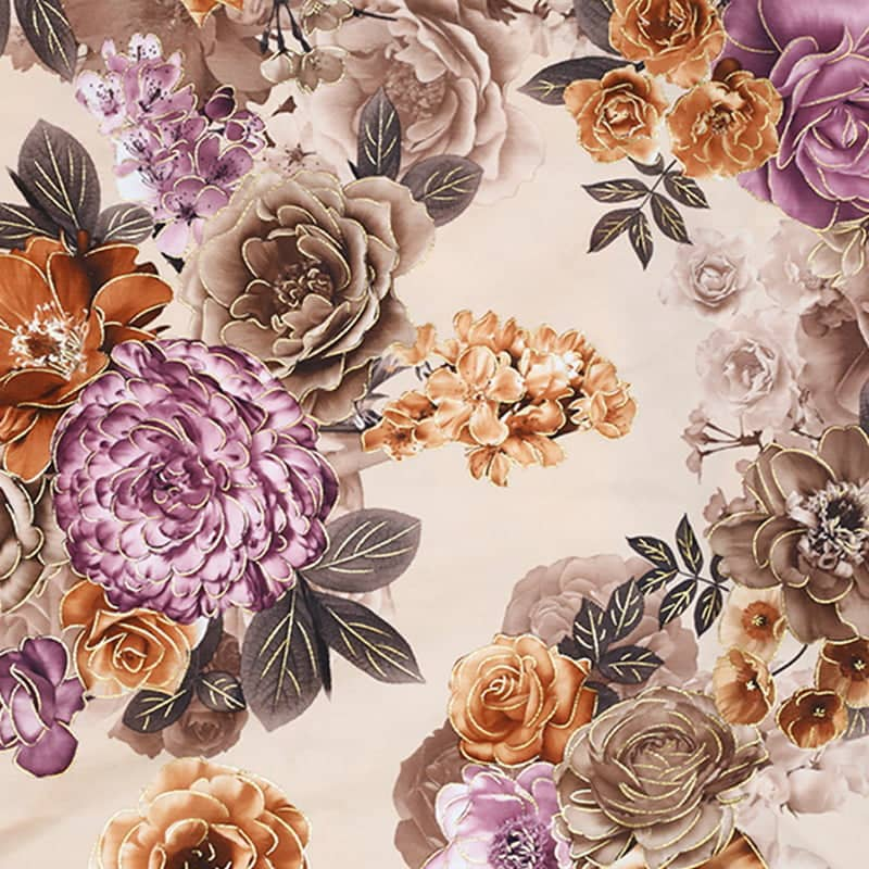 yellow floral fabric print material